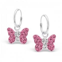 Pink Butterfly Earrings - 925 Silver