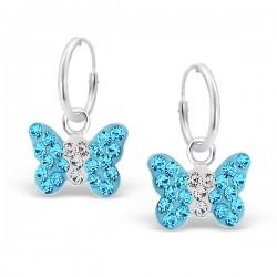 Blue Butterfly Earrings - 925 Silver