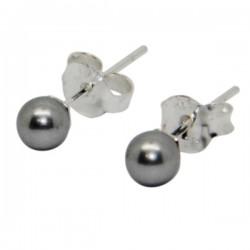 Gray Pearl Earrings - 925 Silver
