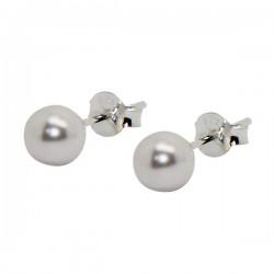 White Pearl Earrings - 925 Silver