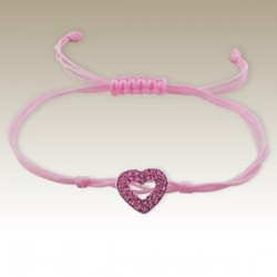 Crystal Heart Bracelet - 925 Silver - Pink Cord
