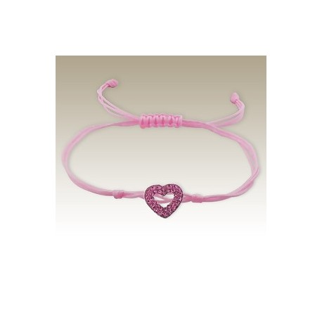 Bracelet Cœur en Cristal - Argent 925 - Cordon Rose