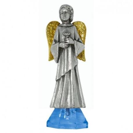 Statue Ange Avec croix métal Argenté