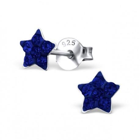 Boucles d'oreilles Etoiles bleues - Argent 925