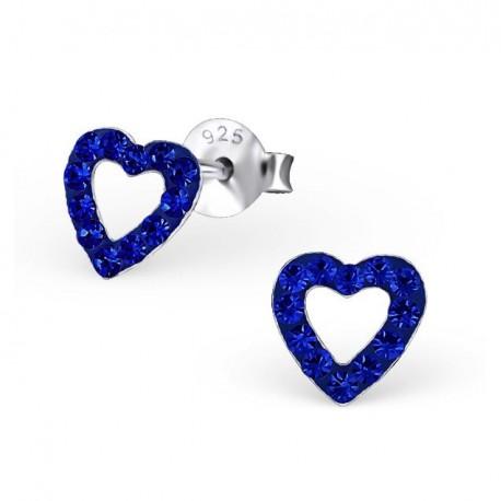 Boucles d'oreilles Cœurs - Cristaux Blancs - Argent 925