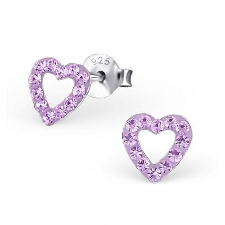 Boucles d'oreilles Cœurs - Cristaux Roses - Argent 925