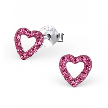 Boucles d'oreilles Cœurs - Cristaux Violets - Argent 925