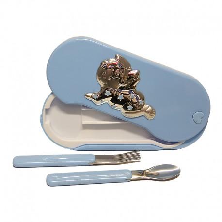 Coffret Ange - Cuillère et Fourchette Bébé -Bleue