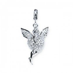Angel and heart pendant - crystal - silver 925