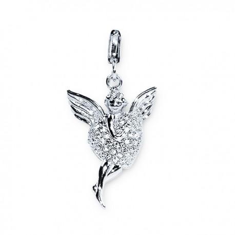 Pendentif Cœur Ange - Cristal - Argent 925