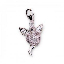 Angel and heart pendant - white crystal - silver 925