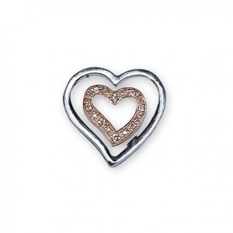 Pendentif Cœur avec Zircon  - Argent 925