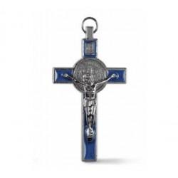 Croix de Saint Benoit - émaillée bleue