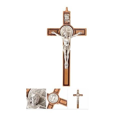 Croix de Saint Benoit en bois - 14 cm