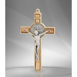 Croix de Saint Benoit - métal doré et bois