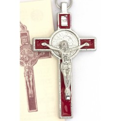 Croix de Saint Benoit - émaillée rouge