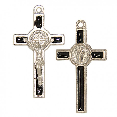 Croix de Saint Benoit métal argenté pour chapelet - 50 Pc