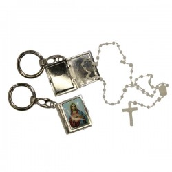 Keychain Sacred Heart of Jesus small Box with Rosary