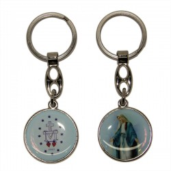 Keyring of the Miraculous Virgin - Round blue.