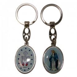 Porte-clés de la Vierge Miraculeuse - Rond bleue