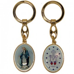 Keyring of the Miraculous Virgin - blue oval - golden