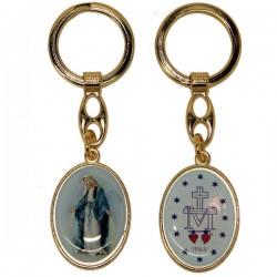 Keyring of the Miraculous Virgin - blue oval - golden