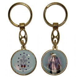 Keyring of the Miraculous Virgin - Round blue - gold