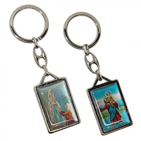 Porte-clés Saint Christophe et l 'Apparition de Lourdes  - Rond