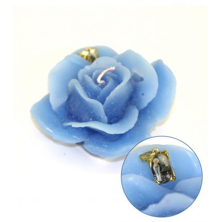 Bougie forme de Rose - Bleue - Médaille de Banneux ND