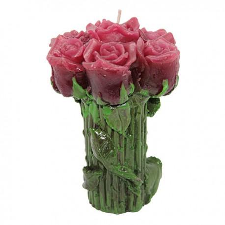 Bougie forme de Rose - Rose - Médaille Ange Protecteur