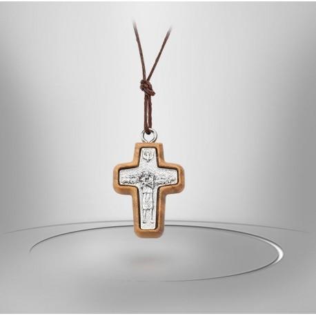 Collier Cordon avec Croix en bois d'olivier - Christ doré