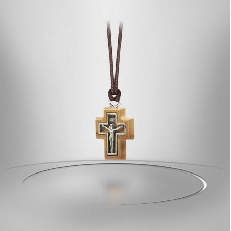 Collier Cordon avec Croix en bois d'olivier - Christ métal Argenté