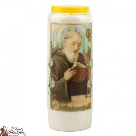 "Candles Novena - White - ""Saint Benedict"" (French)"