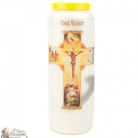 """Candles Novena - White - """"Cross Victory"""" (French)"""