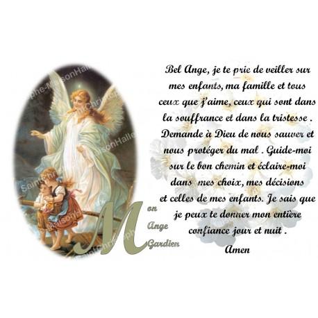 Autocollant bougie de neuvaine avec prière français - mon ange gardien