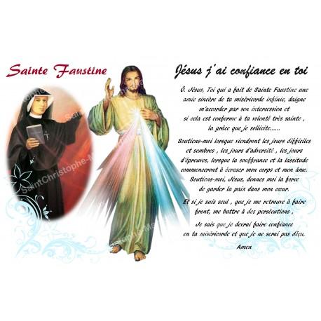 Autocollant bougie de neuvaine avec prière français - Sainte Faustine & christ miséricordieux