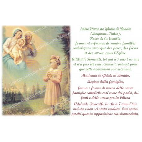 Autocollant bougie de neuvaine avec prière français et italien- notre dame de ghiaie di bonate