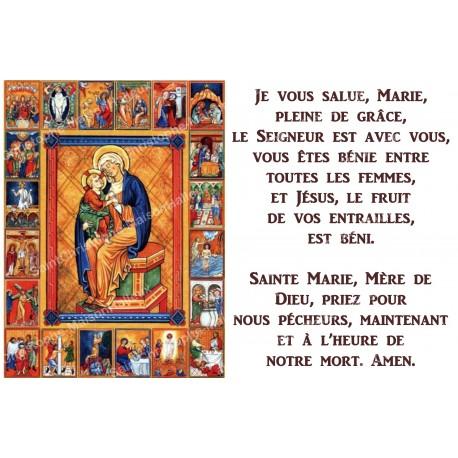 Autocollant bougie de neuvaine avec prière français - notre dame du rosaire