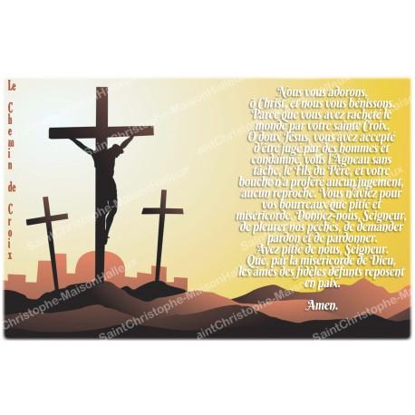 Autocollant bougie de neuvaine avec prière français - chemin de croix