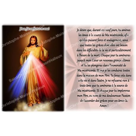 Autocollant bougie de neuvaine avec prière français - Christ miséricordieux 2