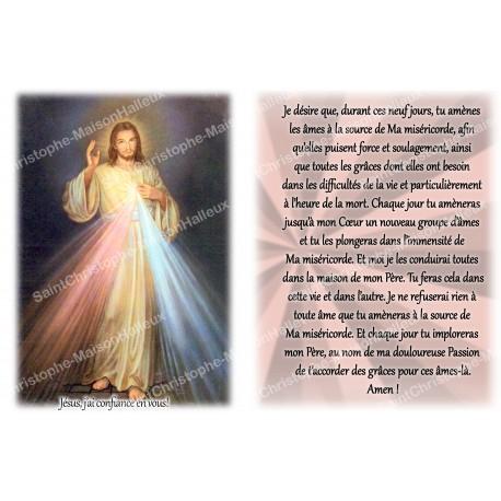 Autocollant bougie de neuvaine avec prière français -Christ misericordieux 3