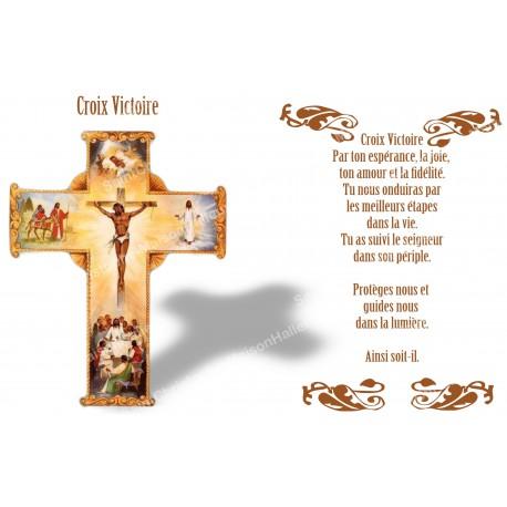 Autocollant bougie de neuvaine avec prière français - croix victoire