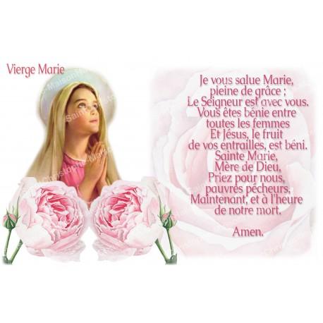 Autocollant bougie de neuvaine avec prière français - Je vous salue Marie