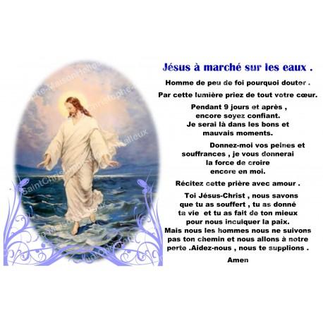 Autocollant bougie de neuvaine avec prière français -  Jésus marche sur les eaux