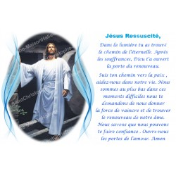 Sticker of novena candle with prayer - Jesus resurrected