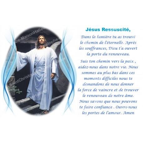 Autocollant bougie de neuvaine avec prière français - Jésus réssucité