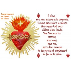 sticker with French  prayer - Thanks to the Heart of Jesus