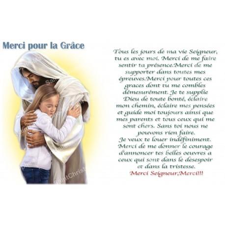 Autocollant bougie de neuvaine avec prière français - Merci pour la Grâce