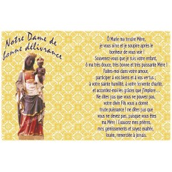 sticker with French  prayer - Our Lady of Good deliverance
