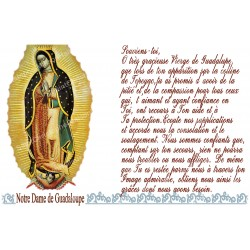 sticker with French  prayer - Our Lady of Guadalupe